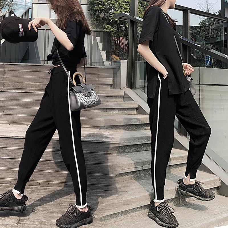 Hàn quốc phiên bản của băng lụa chín điểm quần thể thao nữ mùa hè lỏng thường giảm béo eo cao phần mỏng quần hậu cung sinh viên chùm feet quần