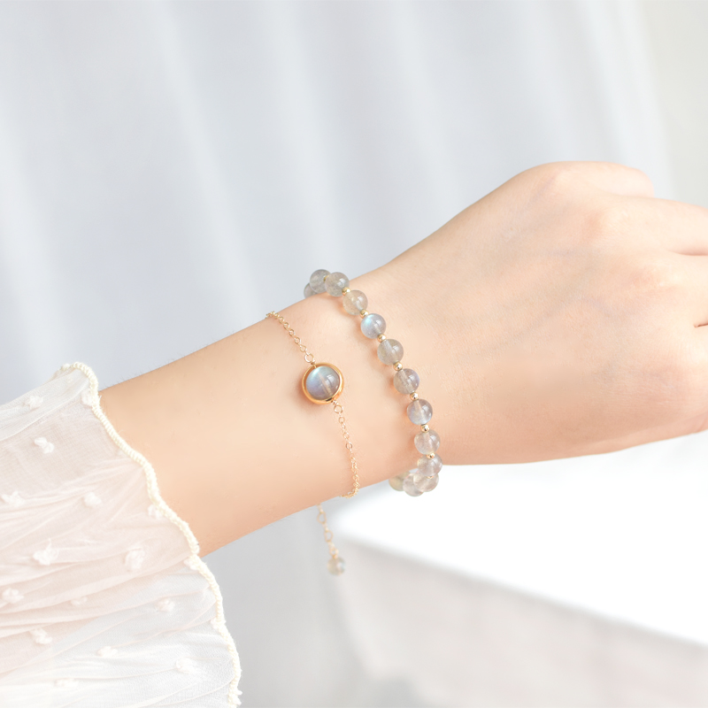 Hạt đá tự nhiên màu xám mặt trăng vòng đeo tay nữ thiết kế thích hợp ins gió lạnh sterling bạc pha lê vòng tay quà tặng sinh nhật - Vòng đeo tay Clasp