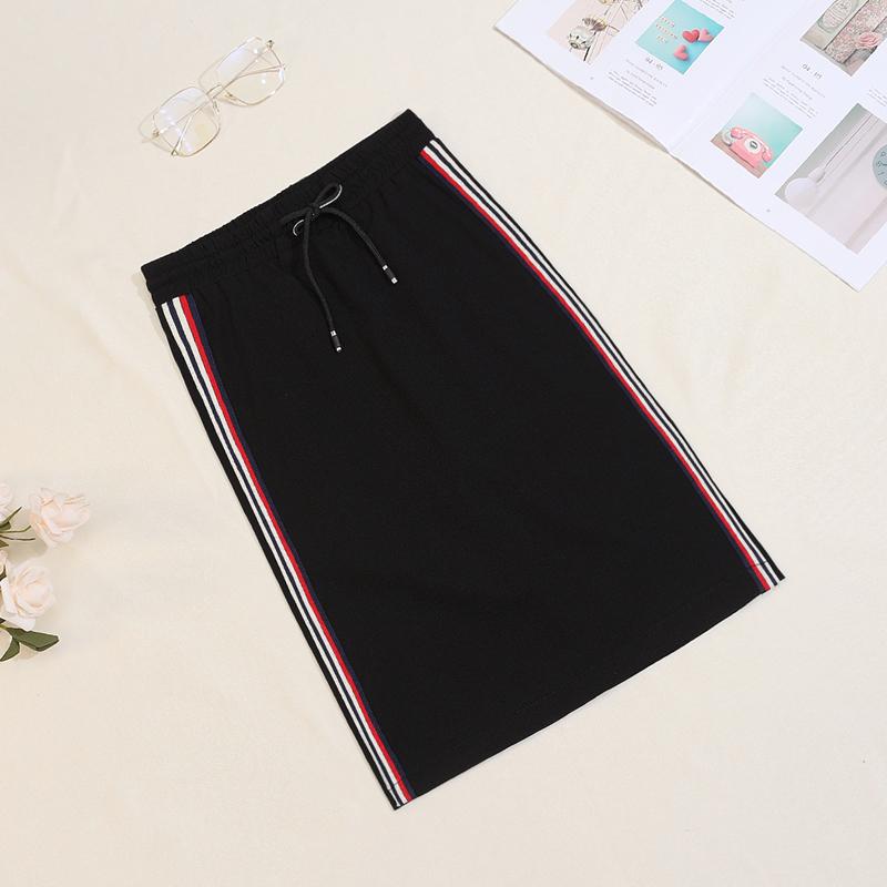 侧条纹运动休闲半身裙夏季黑色开衩一步裙中长款包臀裙高腰直筒裙