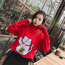 3911实拍2018春装新款韩版气质高领长袖卡通招财猫针织衫