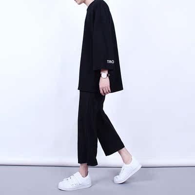 Quần chân rộng nam chín điểm mùa hè thường thẳng tám quần lỏng rộng quần chân 9 điểm Hàn Quốc phiên bản của xu hướng bùng quần thủy triều Crop Jeans