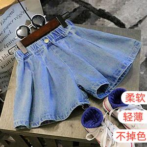 Trung và nhỏ trẻ em 2018 cô gái mùa hè mới thời trang lỏng rắn màu jeans bé giản dị trẻ em thoải mái của culottes