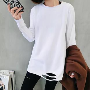 2019春季新款白色长袖T恤破洞打底衫