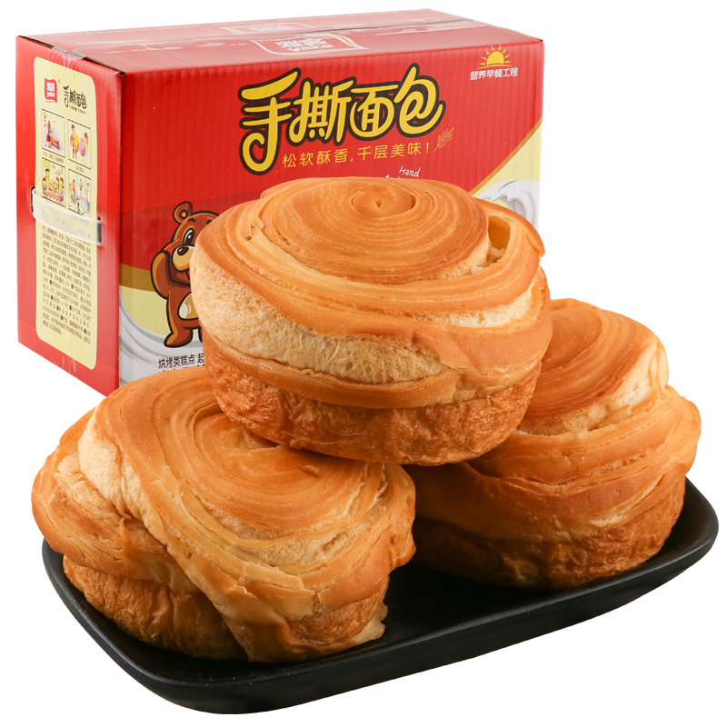 雅客手撕面包1000g酥香营养早餐糕点