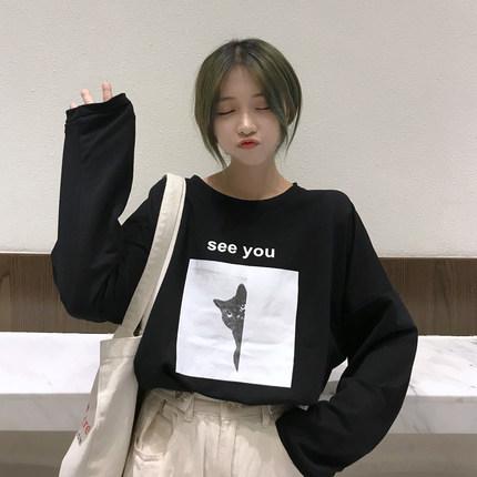 49韩版新款ulzzang原宿bf风长袖T恤女学生慵懒宽松chic早春上衣