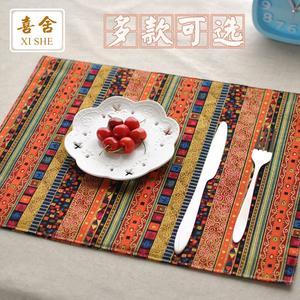 Thái sọc bảng mat bàn ăn vải placemat red blue retro tính năng phong cách dân tộc bữa ăn mat trà mat