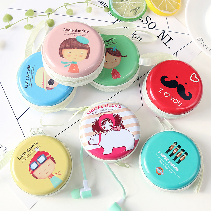 Hàn quốc sáng tạo gió Anh tinplate tai nghe lưu trữ bag mini dễ thương coin purse phim hoạt hình túi đồng xu túi chìa khóa