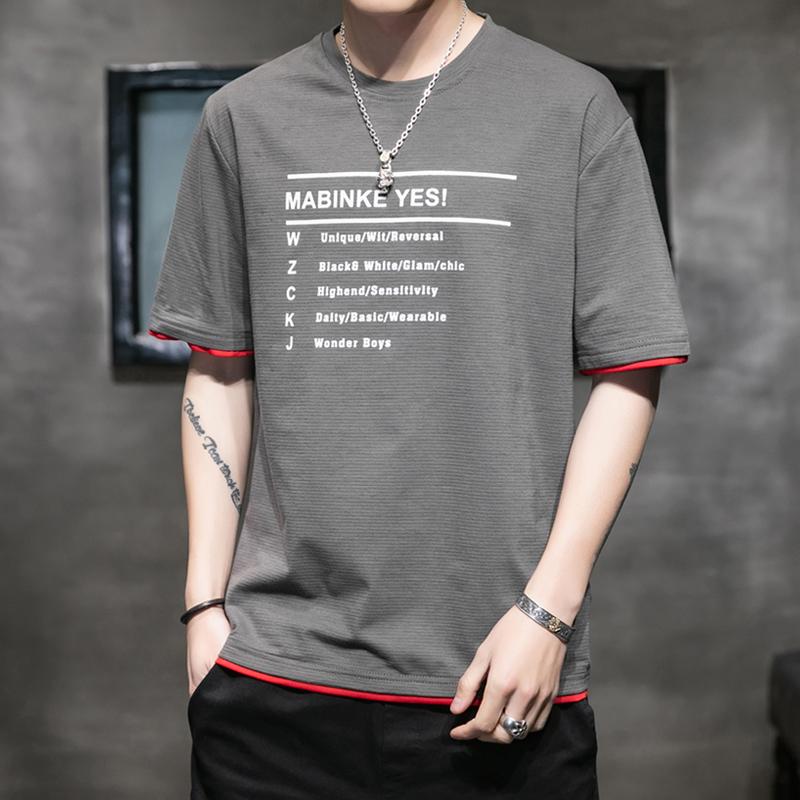夏季短袖t恤男士潮流修身半袖男字母印花弹力体恤男装潮牌上衣服