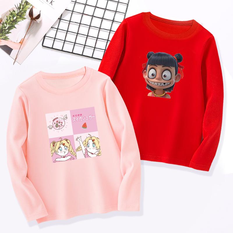 儿童女童2019春秋新款韩版纯棉T恤大童上衣白色秋装季长袖打底衫