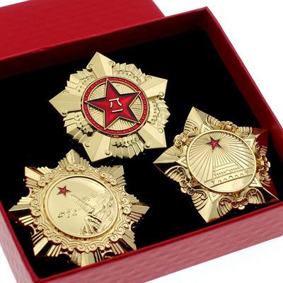 中秋节八一勋章收藏品闺蜜长辈独立自由勋章纪念品 解放勋章 道具徽章 胸针用心
