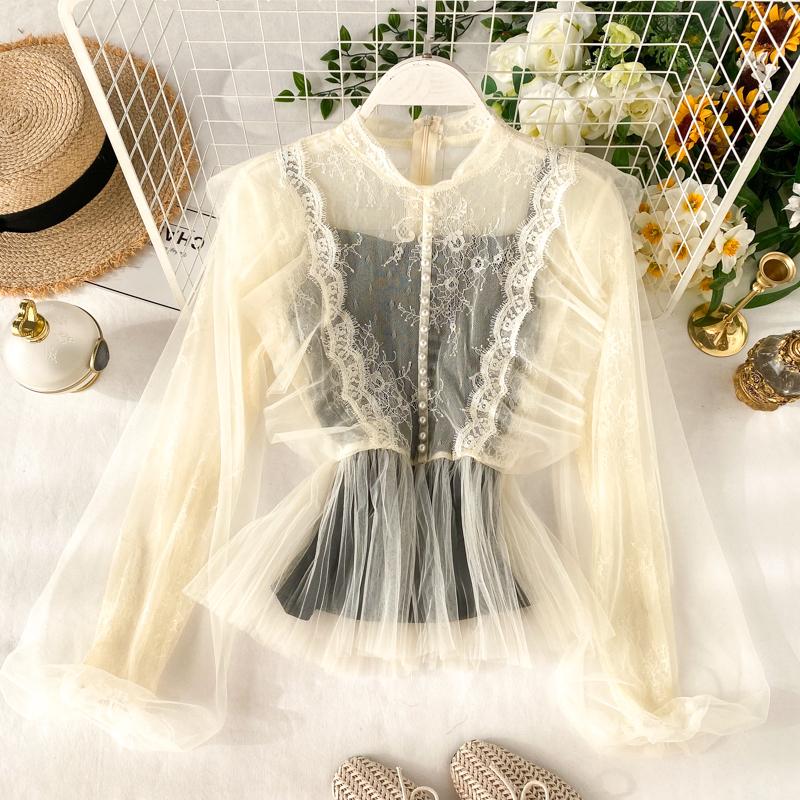 Французский девушка дворец ветер куртка женщина chic супер сладкий фонарь рукав утолщённый воротник марля бессмертный газ кружево рубашка 610793206398