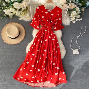 Весна женщина франция небольшой многие любовь шаблон V воротник талии женщин бог темперамент бедро большие качели платье платье