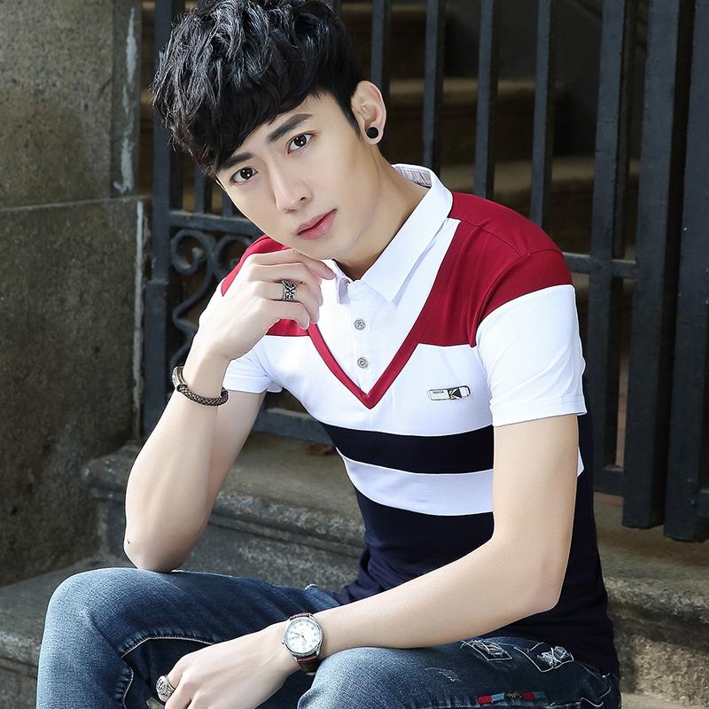 夏季爆款休闲假两件衬衫男短袖衬衣男士韩版修身男短袖T恤607