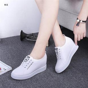 春季透气小白鞋厚底内增高休闲女鞋