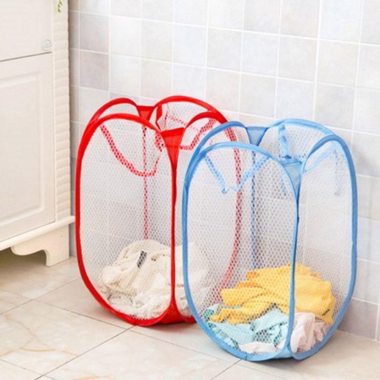 第二件6.9/简约网布可折叠脏衣篓收纳洗衣服内衣杂物洗澡筐篮