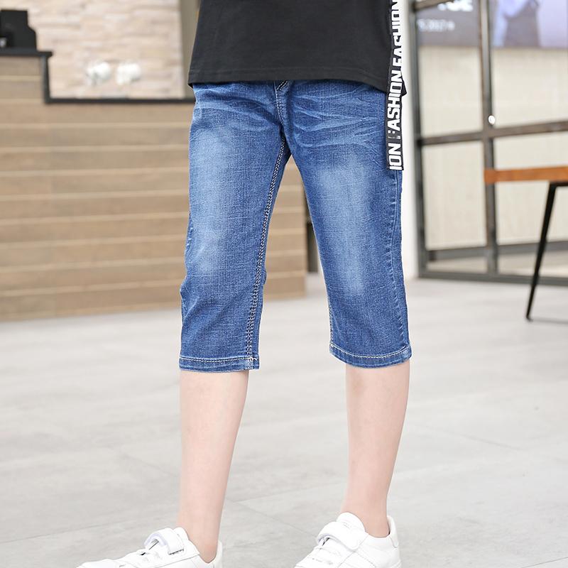 Trai denim quần cotton lớn trẻ em bảy quần phần mỏng trai sinh viên bé quần mùa hè 3-9-16
