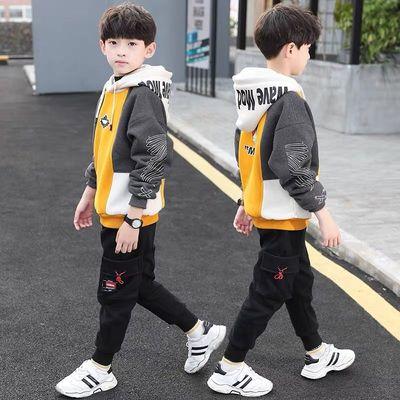 男童加绒卫衣秋冬潮款加厚2020新款儿童秋装男上衣保暖衣学生韩版