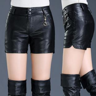 秋冬新款高腰修身时尚外穿皮短裤