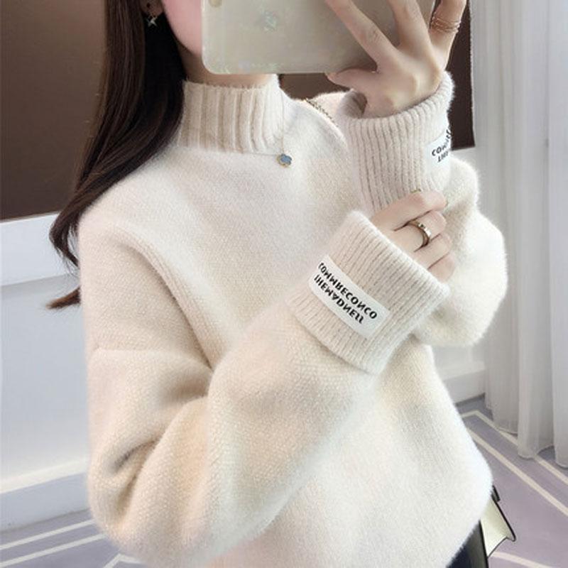 热卖水貂绒毛衣女装2019人气洋气内搭冬季外穿半高领雪尼尔针织衫