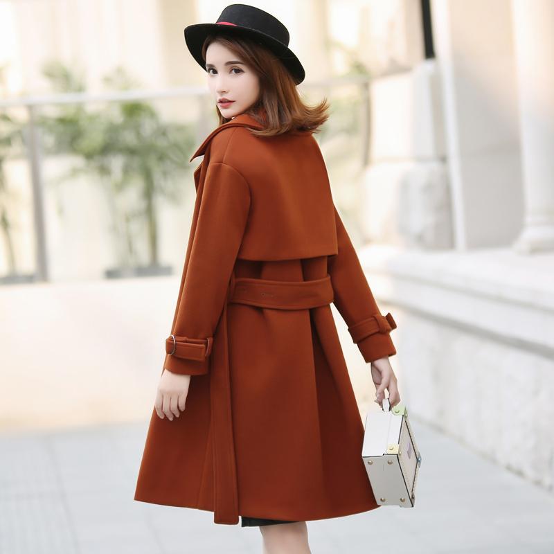 2017冬季加厚中长款系带毛呢外套女韩版新款藏青收腰修身呢子大衣