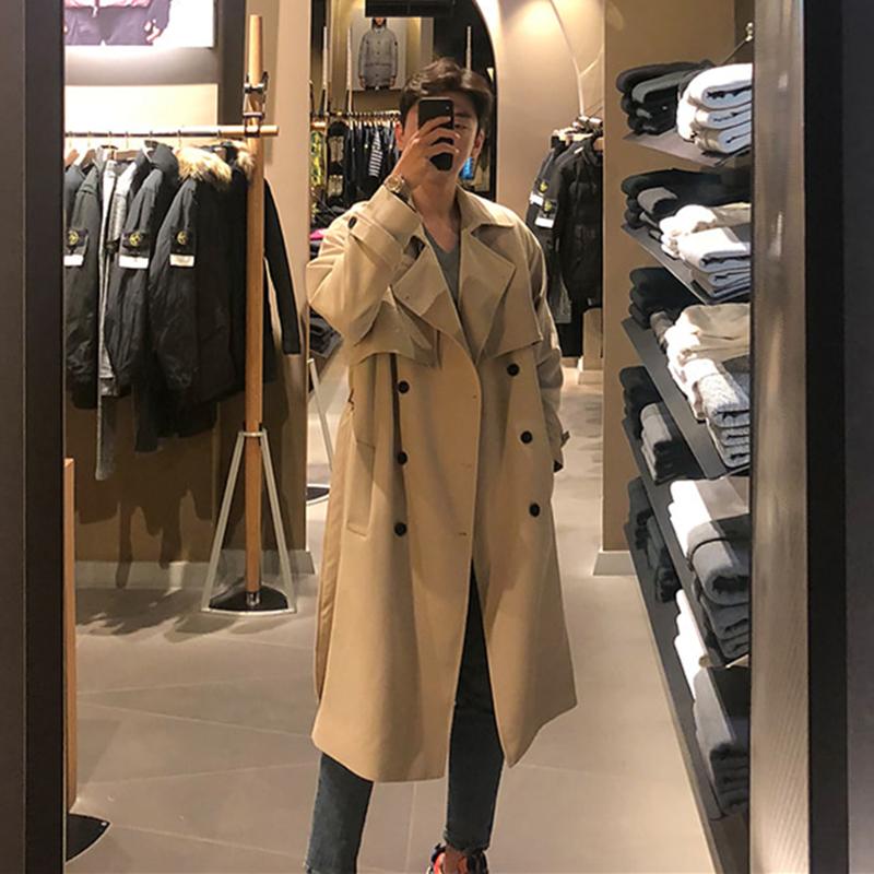 风衣男中长款韩版英伦风大衣外套
