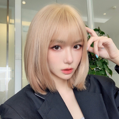taobao agent lisa same style summer new wig rose female mid-length hair natural full head light gold clavicle hair set
