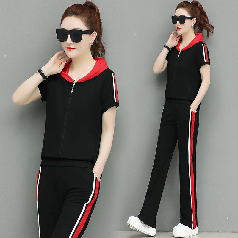 夏2019新款时尚女套装显瘦短袖阔腿裤运动服韩版连帽休闲两件套潮