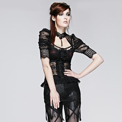 taobao agent PUNK RAVE pr punk state women's clothing dark gothic style translucent lace fake placket short-sleeved T-shirt