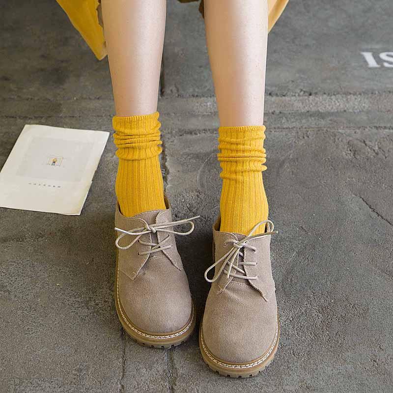 11-03新券堆堆袜女秋冬黑色百搭ins潮流纯棉个性学院风日系中筒韩国长袜女
