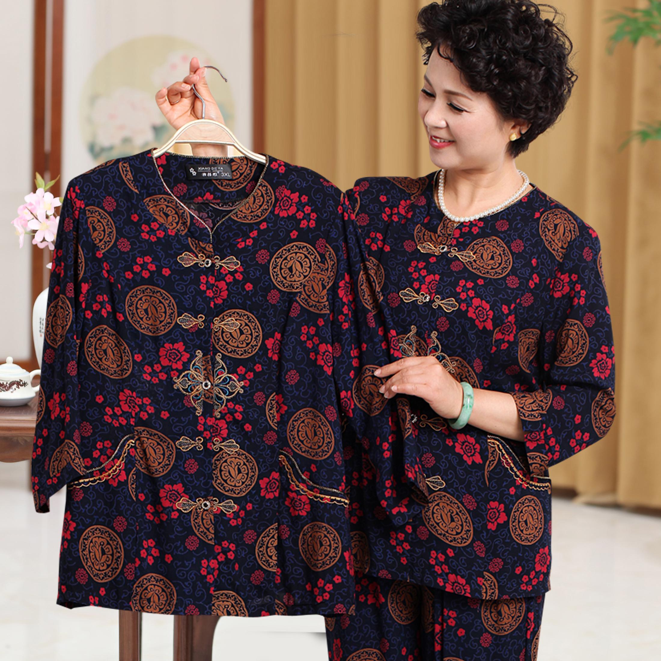 Phụ nữ mùa hè trung niên và phụ nữ lớn tuổi của mùa xuân 60-70-80 tuổi bà lụa bông dài tay Tang với túi phần mỏng