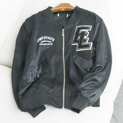 34128 mùa xuân nam lỏng lẻo hoang dã áo khoác ngắn đồng phục bóng chày sinh viên appliqué áo khoác bay S10-11