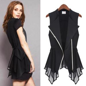 Mùa xuân và mùa hè mới dài voan áo sơ mi nữ vest phù hợp với áo khoác kích thước lớn vest không tay dây kéo áo sơ mi cardigan