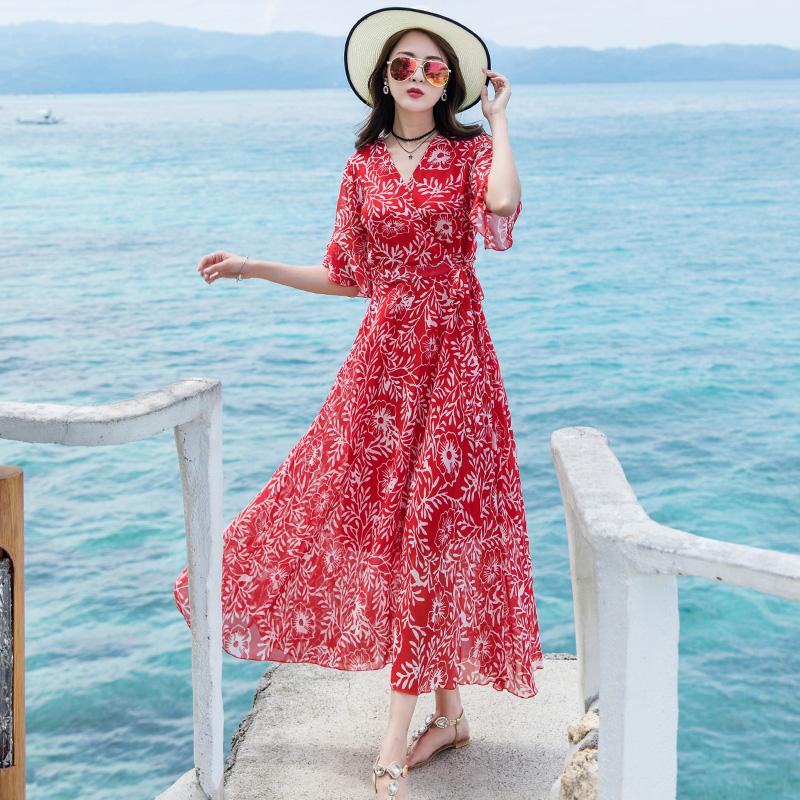 沙滩裙海边度假巴厘岛海滩裙女夏雪纺大摆碎花连衣裙波西米亚长裙_淘宝优惠券