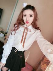 2018新长袖衬衫女韩版百褶荷叶边娃娃领绑带衬衣打底衫#4744实拍