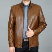 2018 new Haining trung niên da nam kích thước lớn lỏng trung niên áo khoác da cha mặc áo khoác mỏng mùa xuân và mùa thu