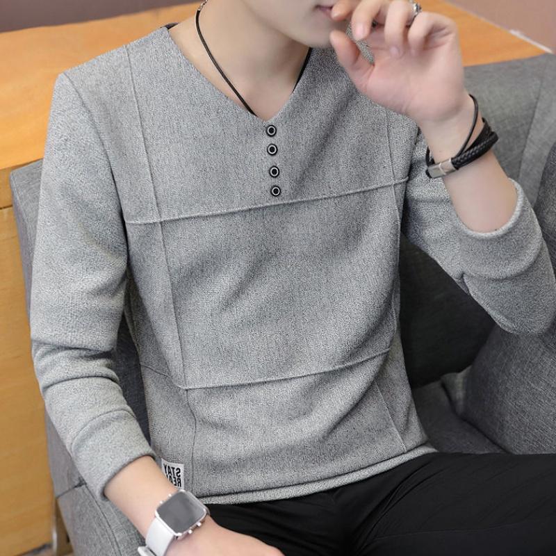 新款上衣服卫衣男长袖T恤男士春装打底衫潮流春季薄款男款潮27P