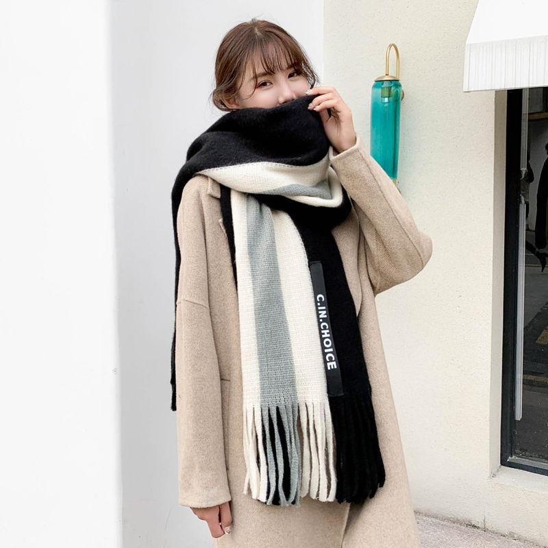 秋冬季围巾�女韩版百搭长款加厚披♀肩保暖女「士针织毛线学生围脖冬天