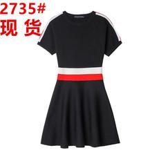 夏季新款2017韩版修身显瘦撞色短袖针织连衣裙女气质收腰a字短裙