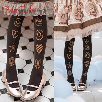 taobao agent Girl seven points sweet original design sweetheart velvet national brand printing 120Dlolita socks pantyhose