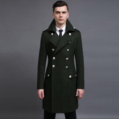 Dài áo len nam 2017 mùa thu và mùa đông mới kích thước lớn đôi ngực retro len coat quân xanh NO.900 Áo len