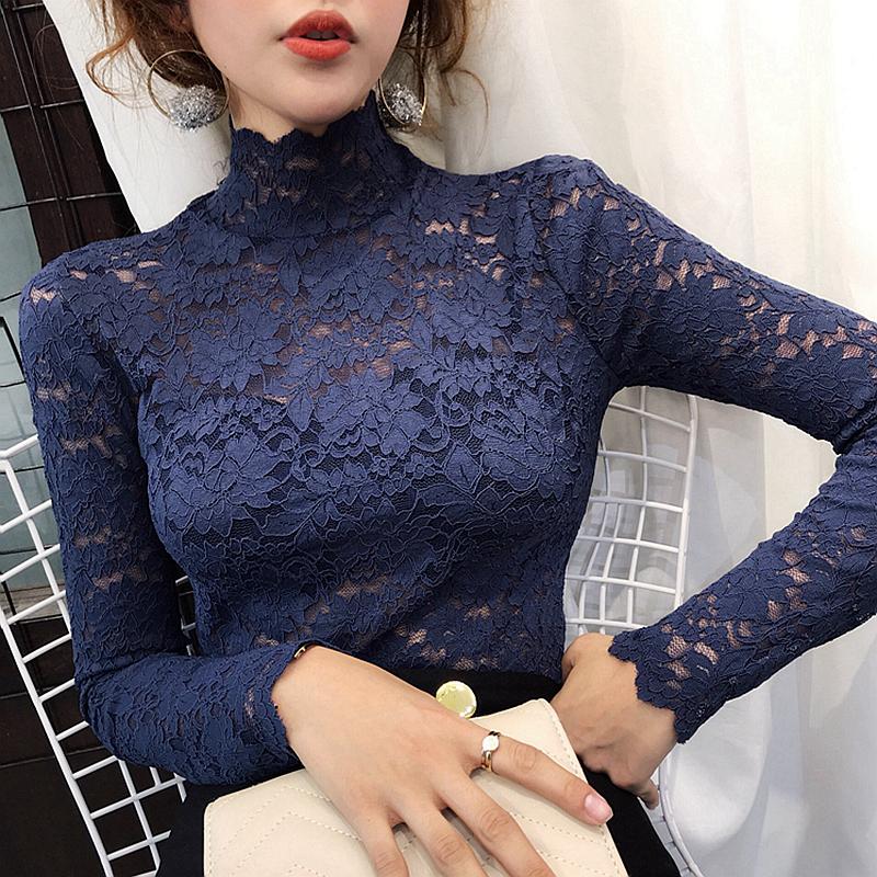 蕾丝打底衫内搭,韩版高领长袖蕾丝衫女镂空网纱打底衫
