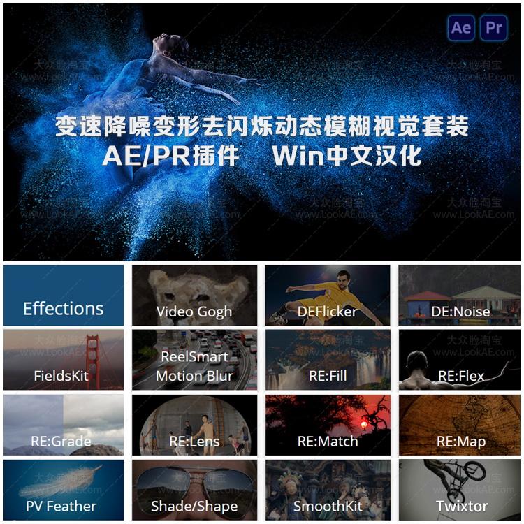 中文汉化-慢动作降噪去闪动态模糊视觉套装AE/PR插件REVisionFX v21.1.1 Win
