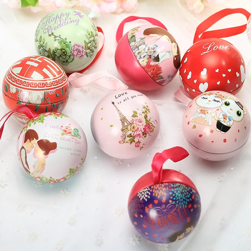 新款欧式喜糖盒子创意马口铁糖盒圣诞礼物圆球糖果包装盒子结婚庆