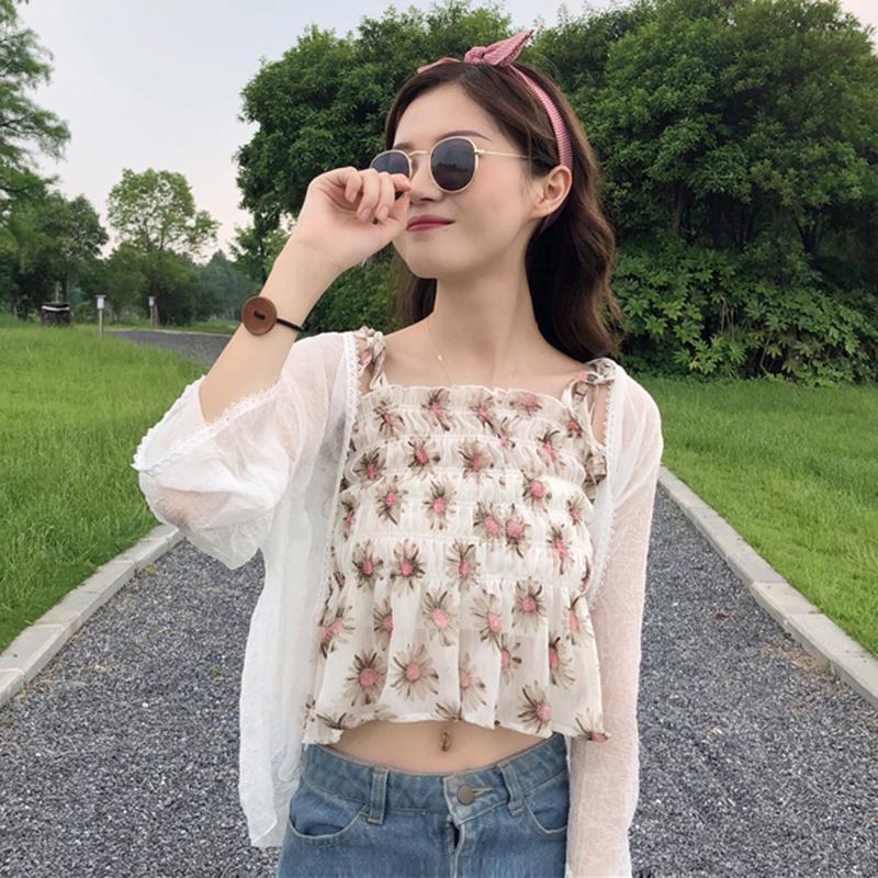 Mùa hè ăn mặc của phụ nữ Hàn Quốc phiên bản của nhỏ tươi Mỏng hoang dã mỏng ngắn voan hoa sling bên ngoài mặc vest + khăn choàng