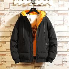 男士棉衣外套冬季新款连帽纯色保暖棉服休闲棉袄潮流男装外套