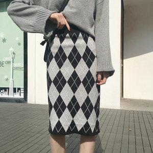 955#实拍实价 ins~超好看!修身显瘦菱格针织半身裙