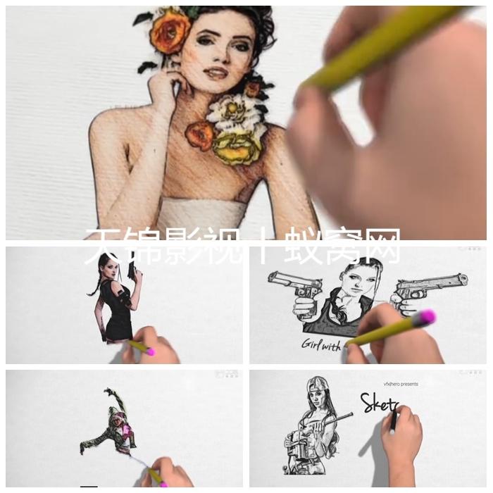 AE模板702铅笔手绘涂鸦图片展示素描人像卡通视频制作