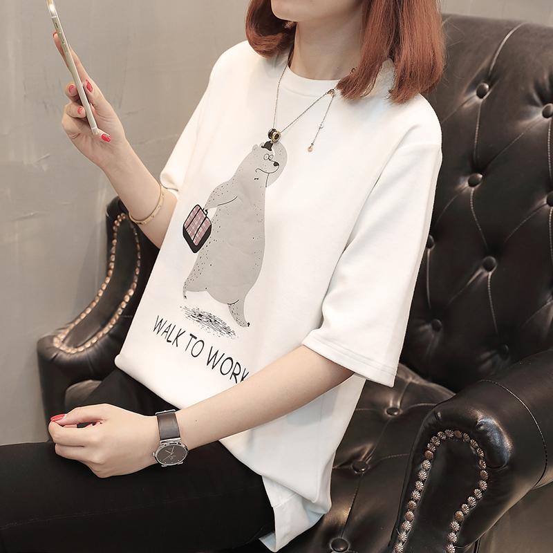 615#实拍2018夏季新款韩版短袖打底衫 卡通减龄印花宽松T恤