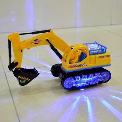 儿童电动挖掘机玩具车男孩宝宝音乐灯光万向工程车推土机变形玩具