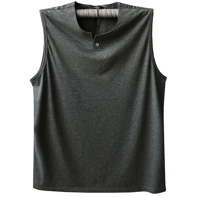 Mùa hè vest nam cotton V-Cổ vai rộng thể thao vest vai người đàn ông của thở kích thước lớn tập thể dục chạy không tay t-shirt màu rắn